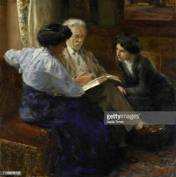 Alphons Marie Antoine Joseph Grandmont Second husband of the painter giving lessons to two Italian girls Bramine Hubrecht 1900 1909