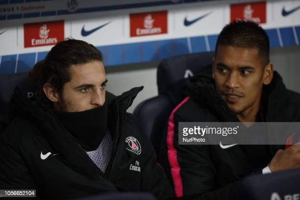 Alphonse Areola and Adrien Rabiot attend the soccer match game between PSG and Lille at the Parc de Prince in Paris France On November 2 2018