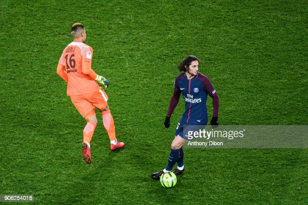 Alphonse Areola and Adrien Rabiot of PSG during the Ligue 1 match between Paris Saint Germain and Dijon FCO at Parc des Princes on January 17 2018 in...