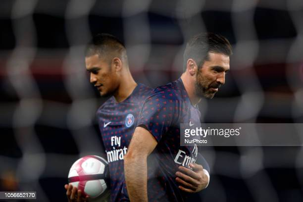 Alphonse Areola and Gianluigi Buffon attend the soccer match game between PSG and Lille at the Parc de Prince in Paris France On November 2 2018