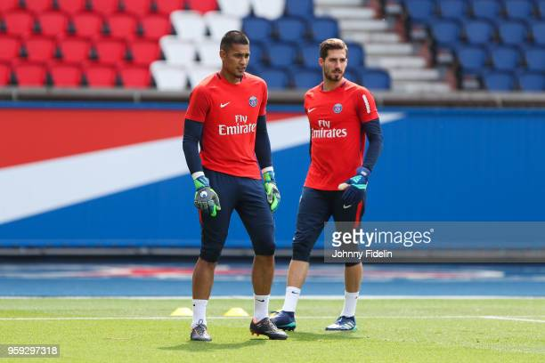Alphonse Areola and Kevin Trapp of PSG during the training session of Paris Saint Germain at Parc des Princes on May 16 2018 in Paris France