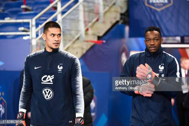 Alphonse Areola and Steve Mandanda of France during the Qualifying European Championship 2020 match between France and Iceland at Stade de France on...
