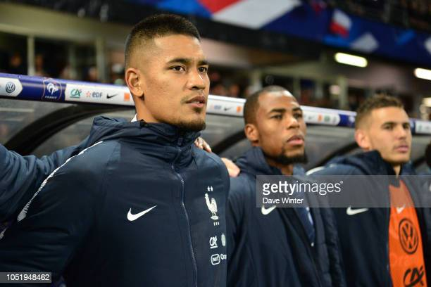 Alphonse Areola Djibril Sidibe and Lucas Hernandez of France during the international friendly match between France and Iceland on October 11 2018 in...