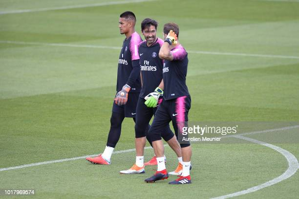 Alphonse Areola Gianluigi Buffon and Kevin Trappreact as they arrive for a Paris SaintGermain training session at Ooredoo center on August 17 2018 in...