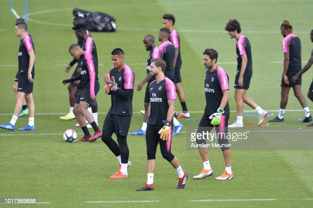 Alphonse Areola Kevin Trapp and Gianluigi Buffon during a Paris SaintGermain training session at Ooredoo center on August 17 2018 in Paris France