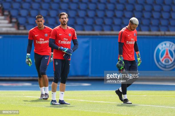 Alphonse Areola Kevin Trapp and Sebastien Cibois of PSG during the training session of Paris Saint Germain at Parc des Princes on May 16 2018 in...