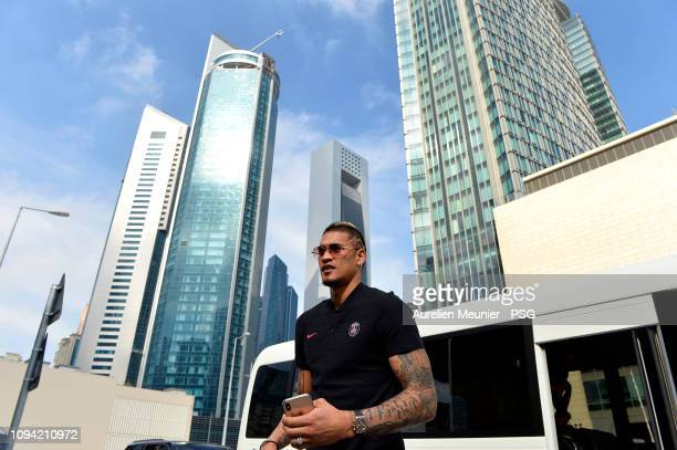 Alphonse Areola of Aris SaintGermain arrives to visit the new Doha metro as a part of the new infrastructures for the FIFA World Cuop 2022 during the...