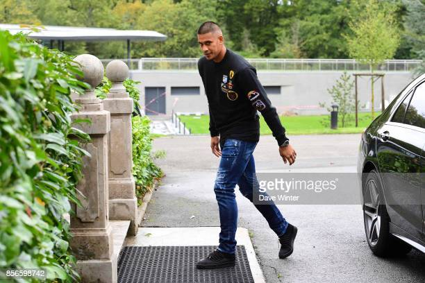 Alphonse Areola of France arrives at Centre National du Football on October 2 2017 in Clairefontaine en Yvelines France