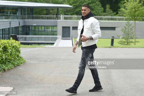 Alphonse Areola of France arrives at the National Football Centre as part of the preparation to UEFA Euro 2020 on May 29 2019 in Clairefontaine...