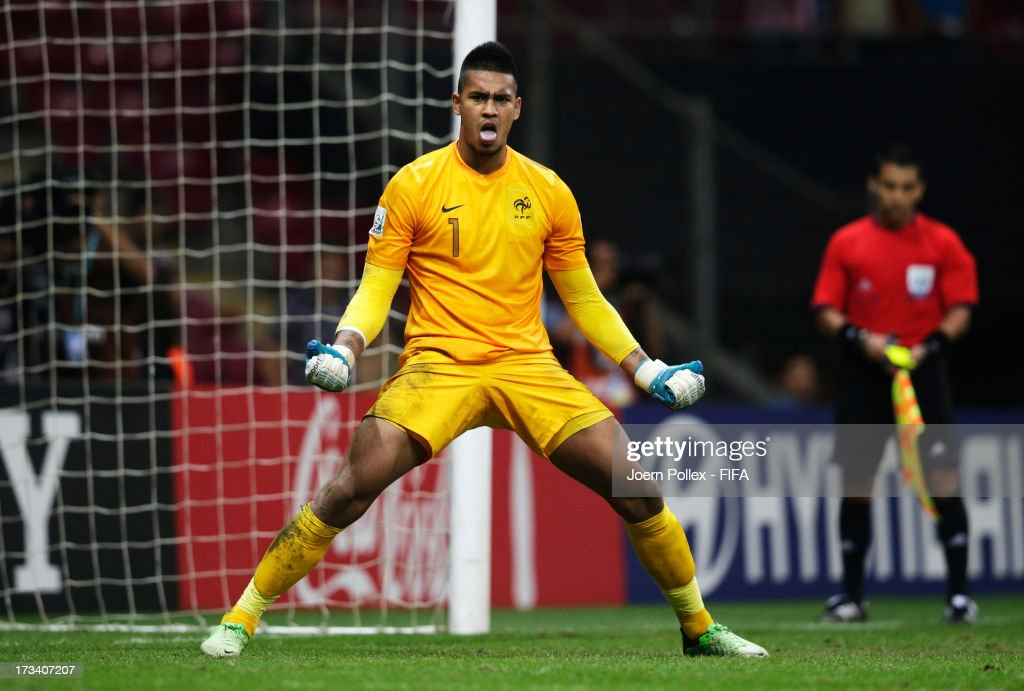 Alphonse Areola of France celebrates after saving a penalty during a shootout during the FIFA U-20 World Cup Final match between France and Uruguay at Ali Sami Yen Arena on July 13, 2013 in Istanbul, Turkey.