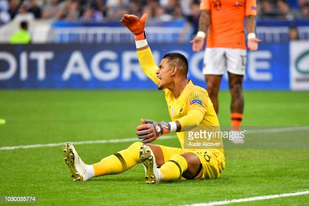 Alphonse Areola of France looks dejected during the Nations League match between France and Netherlands at Stade de France on September 9 2018 in...