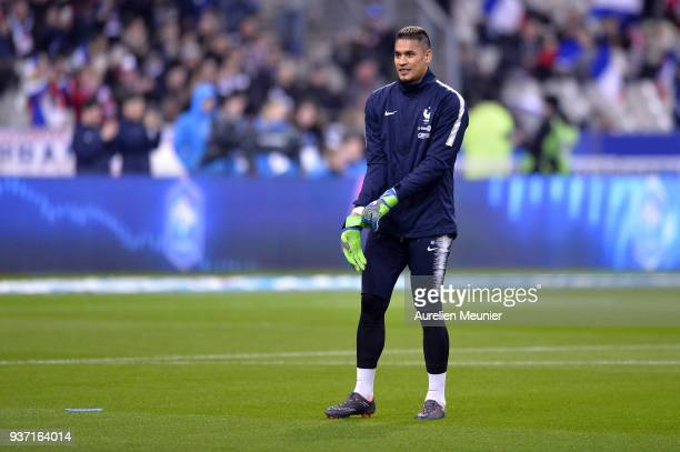 Alphonse Areola of France reacts during warmup before the international friendly match between France and Colombia at Stade de France on March 23...