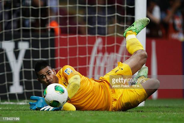 Alphonse Areola of France saves a penalty during a shootout during the FIFA U20 World Cup Final match between France and Uruguay at Ali Sami Yen...