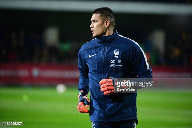 Alphonse Areola of France warms up before the Qualifying European Championship match between Moldova and France at Zimbru Stadium on March 22 2019 in...