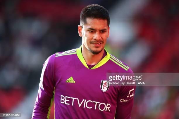 Alphonse Areola of Fulham during the Premier League match between Manchester United and Fulham at Old Trafford on May 18, 2021 in Manchester, United...