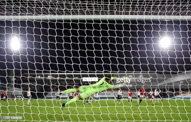 Alphonse Areola of Fulham makes a save during the Premier League match between Fulham and Manchester United at Craven Cottage on January 20, 2021 in...