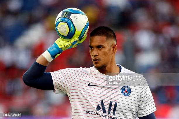 Alphonse Areola of Paris Saint Germain during the French League 1 match between Paris Saint Germain v Toulouse at the Parc des Princes on August 25...