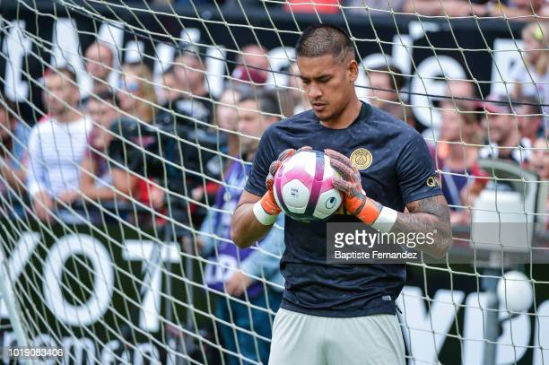 Alphonse Areola of Paris Saint Germain during the French Ligue 1 match between EA Guingamp and Paris Saint Germain at Stade du Roudourou on August 18...