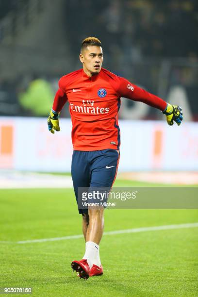 Alphonse Areola of Paris Saint Germain during the Ligue 1 match between FC Nantes and Paris Saint Germain at Stade de la Beaujoire on January 14 2018...