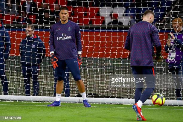 Alphonse Areola of Paris Saint Germain during the Ligue 1 match between Paris Saint Germain and Marseille at Parc des Princes on March 17 2019 in...