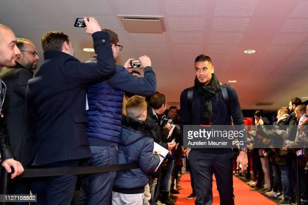 Alphonse Areola of Paris SaintGermain arrives to the stadium before the Ligue 1 match between Paris SaintGermain and Olympique Lyonnais at Groupama...