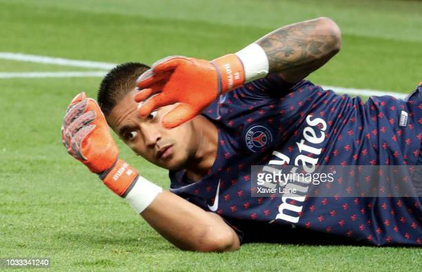 Alphonse Areola of Paris SaintGermain in action during the French Ligue 1 match between Paris Saint Germain and AS Saint Etienne on September 14 2018...