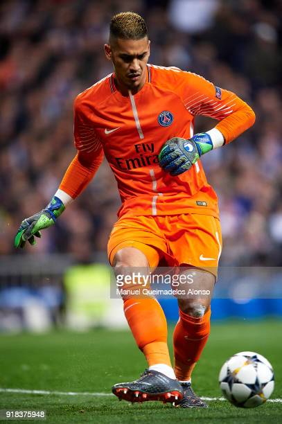 Alphonse Areola of Paris SaintGermain in action during the UEFA Champions League Round of 16 First Leg match between Real Madrid and Paris...