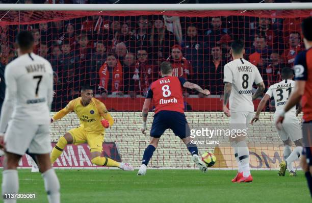 Alphonse Areola of Paris SaintGermain is disapointed after the fist goal during the Ligue 1 match between Lille OSC and Paris SaintGermain at Stade...