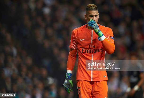 Alphonse Areola of Paris SaintGermain looks on during the UEFA Champions League Round of 16 First Leg match between Real Madrid and Paris...
