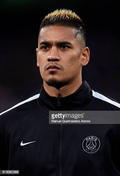 Alphonse Areola of Paris SaintGermain looks on prior to the UEFA Champions League Round of 16 First Leg match between Real Madrid and Paris...