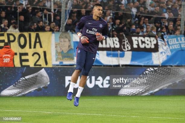 Alphonse Areola of Paris SaintGermain reacts before the French Ligue 1 match between Olympique Marseille and Paris SaintGermain on October 28 2018 at...