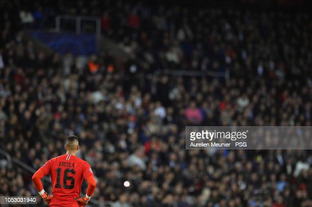 Alphonse Areola of Paris SaintGermain reacts during the Group C match of the UEFA Champions League between Paris SaintGermain and SSC Napoli at Parc...