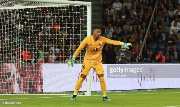 Alphonse Areola of Paris SaintGermain reacts during the Ligue 1 match between Paris SaintGermain and Toulouse FC at Parc des Princes on August 25...