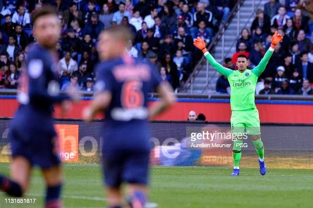 Alphonse Areola of Paris SaintGermain reacts during the Ligue match between Paris SaintGermain and Nimes Olympique at Parc des Princes on February 23...