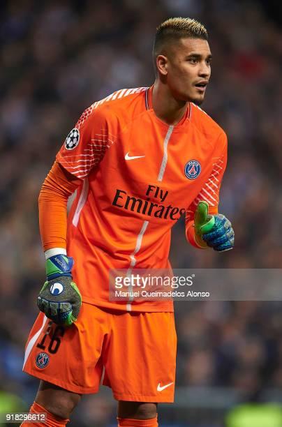 Alphonse Areola of Paris SaintGermain reacts during the UEFA Champions League Round of 16 First Leg match between Real Madrid and Paris SaintGermain...