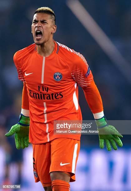 Alphonse Areola of Paris SaintGermain reacts during the UEFA Champions League Round of 16 Second Leg match between Paris SaintGermain and Real Madrid...