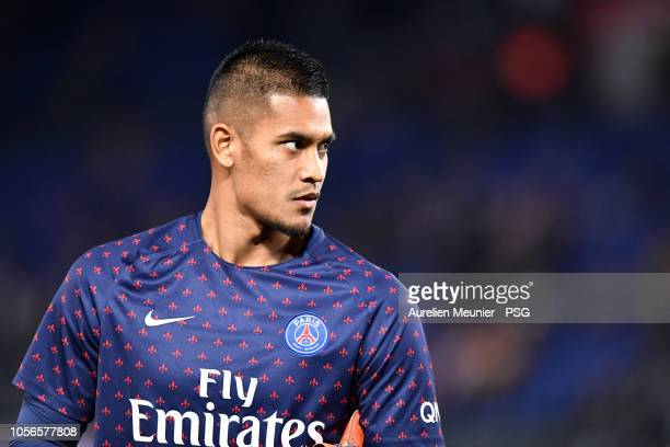 Alphonse Areola of Paris SaintGermain reacts during warmup before the ligue 1 match between Paris SaintGermain and Lille OSC at Parc des Princes on...