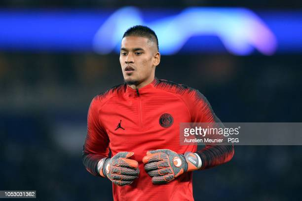 Alphonse Areola of Paris SaintGermain reacts during warmup during the Group C match of the UEFA Champions League between Paris SaintGermain and SSC...