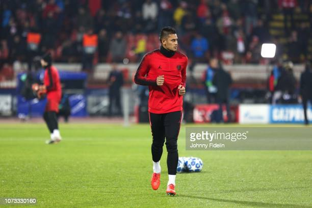 Alphonse Areola of PSG before the UEFA Champions League match between Red Star Belgrade and Paris Saint Germain at Rajko Mitic Stadium on December 11...