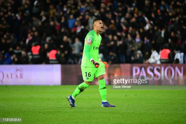 Alphonse Areola of PSG celebrates after his side goes 10 ahead during the Ligue 1 match between Paris Saint Germain and Marseille at Parc des Princes...