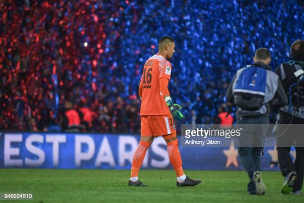 Alphonse Areola of PSG celebrates the victory during the Ligue 1 match between Paris Saint Germain PSG and AS Monaco at Parc des Princes on April 15...