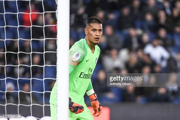 Alphonse Areola of PSG during the Ligue 1 match between Paris Saint Germain and Nimes at Parc des Princes on February 23 2019 in Paris France