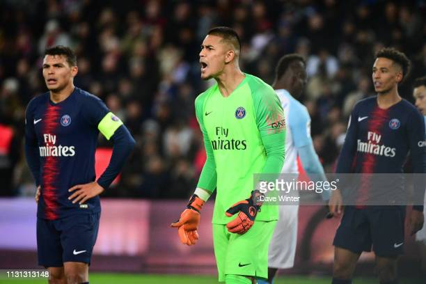 Alphonse Areola of PSG during the Ligue 1 match between Paris Saint Germain and Marseille at Parc des Princes on March 17 2019 in Paris France