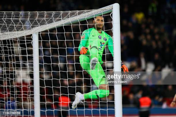 Alphonse Areola of PSG jump before the French Cup match between Paris Saint Germain and Nantes at Parc des Princes on April 3 2019 in Paris France