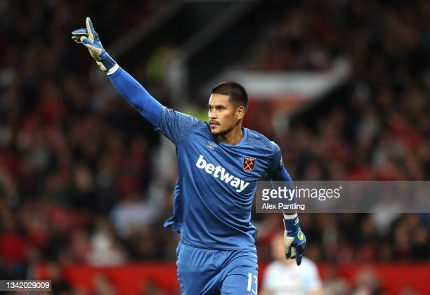 Alphonse Areola of West Ham United during the Carabao Cup Third Round match between Manchester United and West Ham United at Old Trafford on...