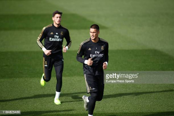 Alphonse Areola player of Real Madrid from France and Diego Altube player of Real Madrid from Spain during the Real Madrid CF training day before the...