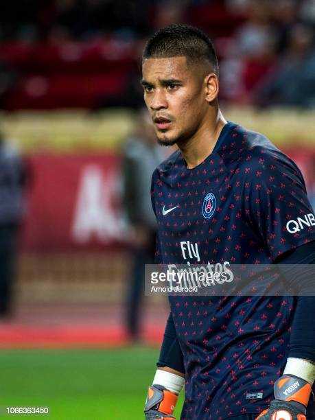 Alphonse Areola warm up before the Ligue 1 match between AS Monaco and Paris SaintGermain at Stade Louis II on November 11 2018 in Monaco Monaco