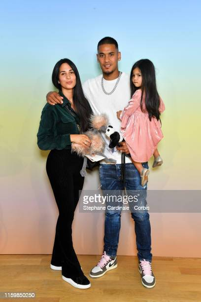 Alphonse Areola with her wife Marrion Valette Areola and their daughter Ayleen-Grace attend the Bonpoint show Spring Summer 2020 as part of Paris...