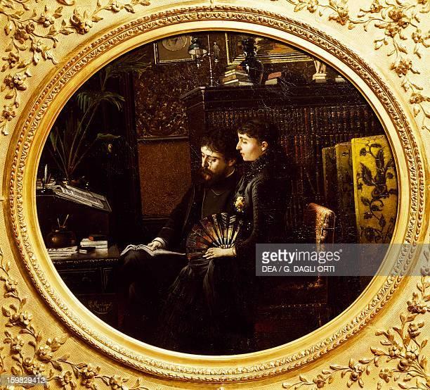 Alphonse Daudet and his wife in the study painting by Louis Montegut Paris Hôtel Carnavalet