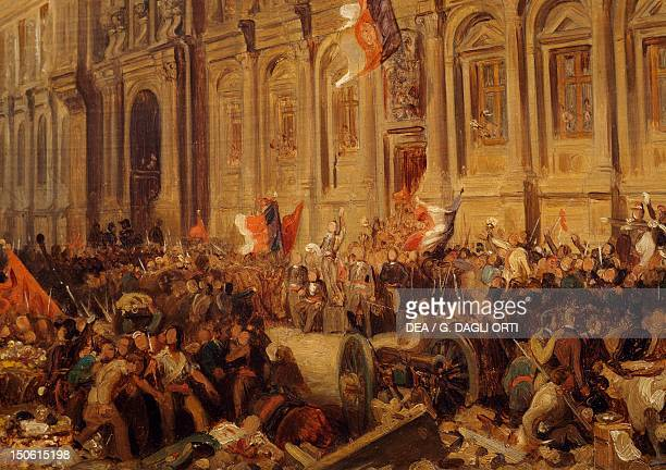 Alphonse de Lamartine in front of Town Hall in Paris February 25 by Henri Felix Emmanuel Philippoteaux detail France 19th century